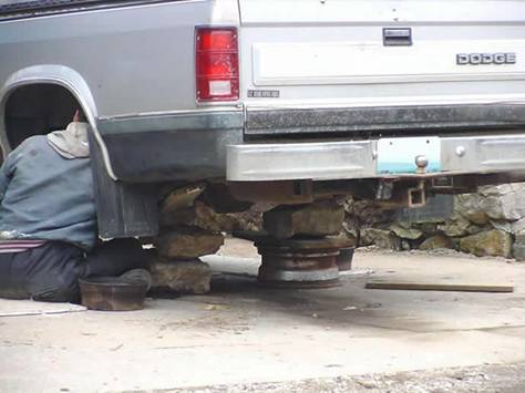 Pile of Rocks Used as Jackstands